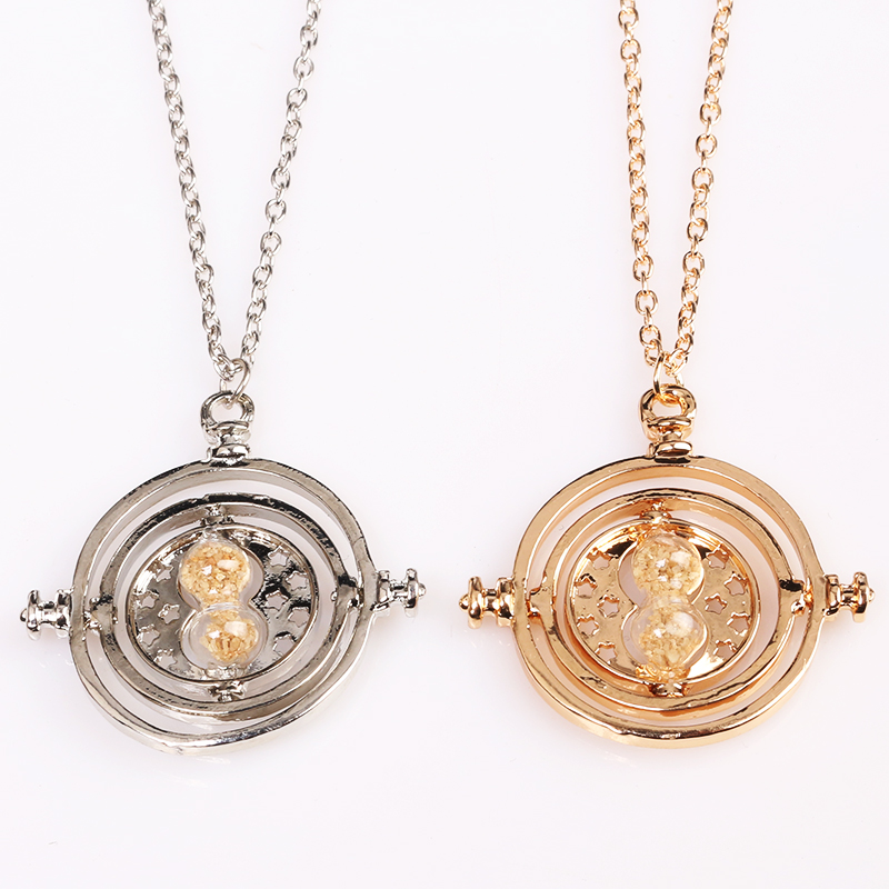 20 PCS/Lot Wholesale Hermione Time Turner Necklace Silver Gold Rotating Spins Hourglass Necklaces & Pendants Time Travel Jewelry