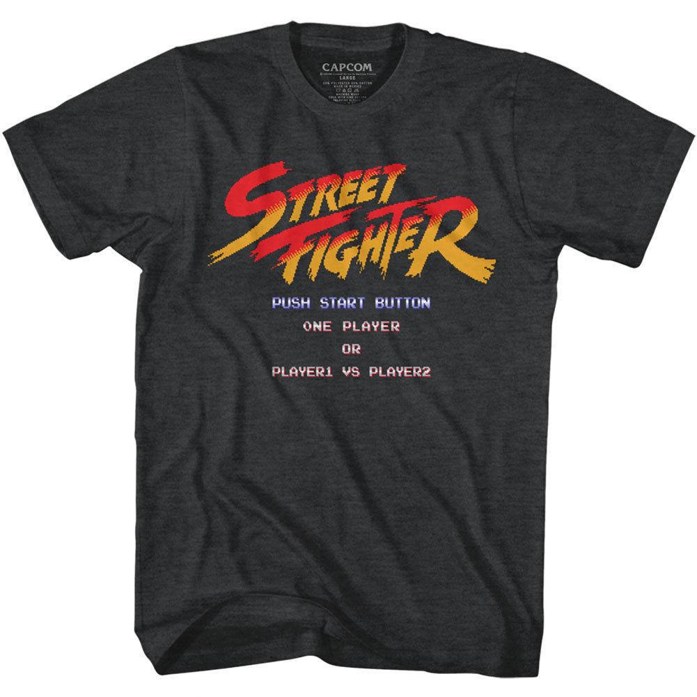 STREET FIGHTER - START SCREEN BLACK HEATHER Men's Adult Short Sleeve T-Shirt Summer Novelty Cartoon T Shirt Trend