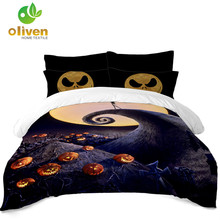 Halloween Night Bedding Set 3D Pumpkin Print Duvet Cover Cartoon Emoji Printed Bedding Cover Pillowcase Polyester Bedclothes D35