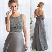 Free Shipping Grey Long Bridesmaid Dresses Lace Backless Wedding Guest Wear 2015 Vestido de Chiffon B2302