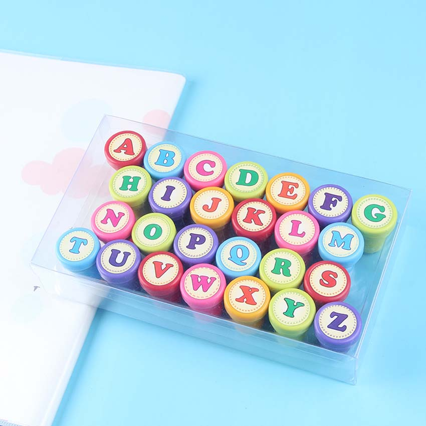 26pcs children Stamps toys English Alphabet 26 Letters Self Inking Rubber Stamper Kids DIY Seals Toy Kids English Teaching Aids