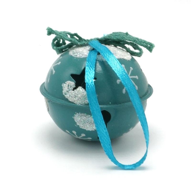 Decoración navideña 6 pcs metal azul brillante Jingle Bells 50 mm - Para fiestas y celebraciones - foto 3