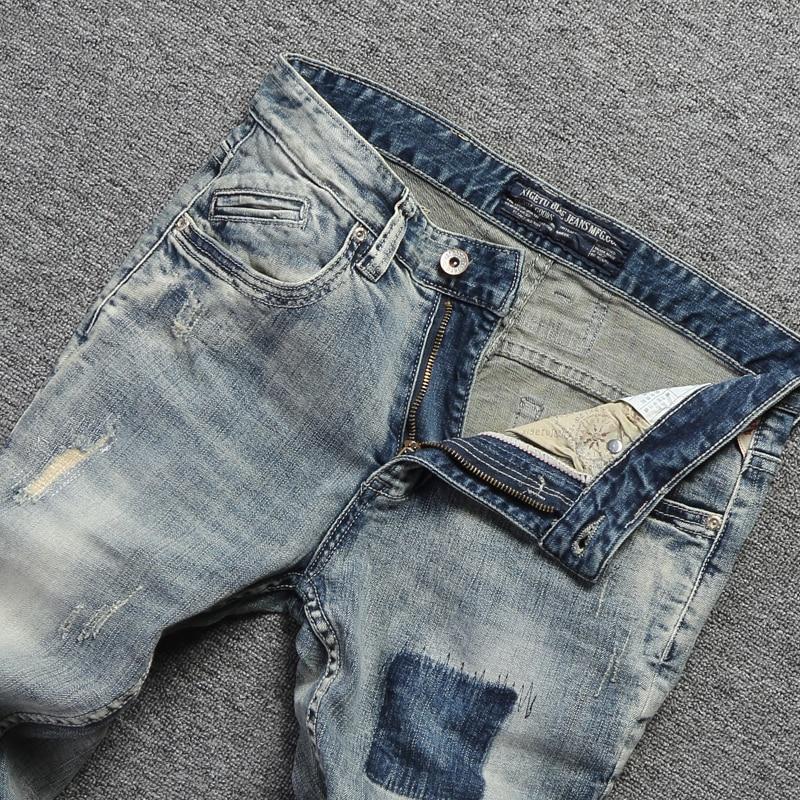 Vintage Design Fashion Men Jeans Stretch Slim Fit Elastic Cotton Denim Pants High Quality Classical Jeans For Men Ripped Jeans 3