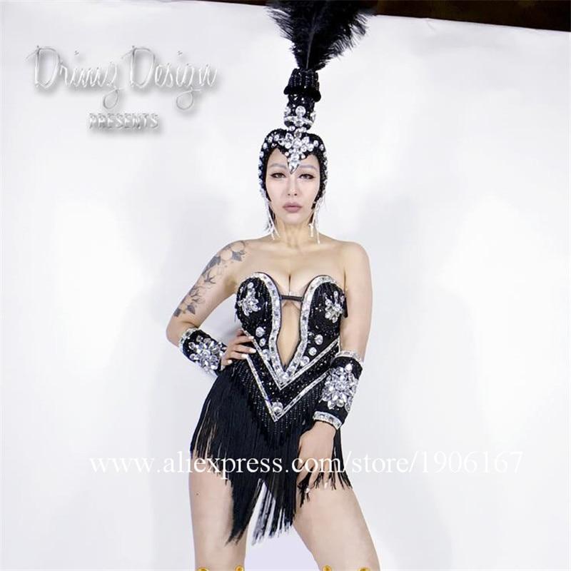 Noir Cool fille dame femmes Costumes robe scène danse Performance vêtements casques ensembles pour passerelle montre Bar