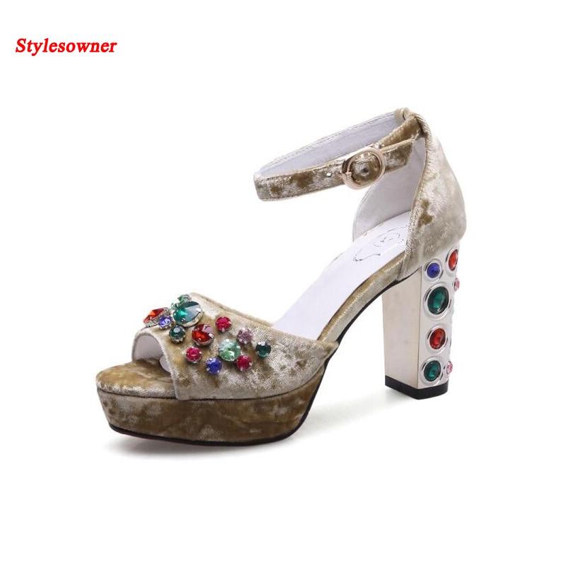 Stylesowner 2017 Sexy Summer Women High Heel Sandals Velvet Rhinestone Squared High Heel Women Ankle Strap Luxury Sandal Shoe