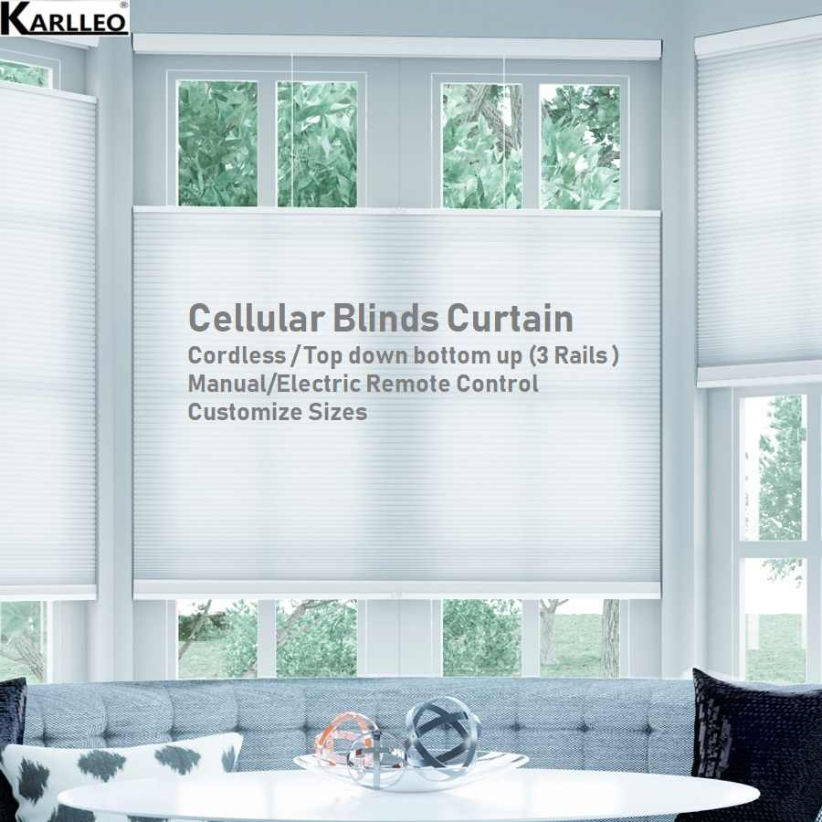 Blackout Cellular Honeycomb Blinds Shades Curtain (Cordless,Top down bottom up,3rails)Customize Sizes Finished Product