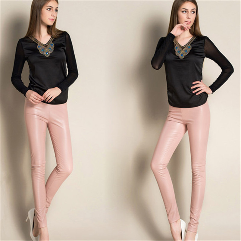 2019 New Spring Women Brand Clothing High Waist Slim Faux Leather Pants Lady Fashion Fleece Skinny PU Leather Trousers Leggings