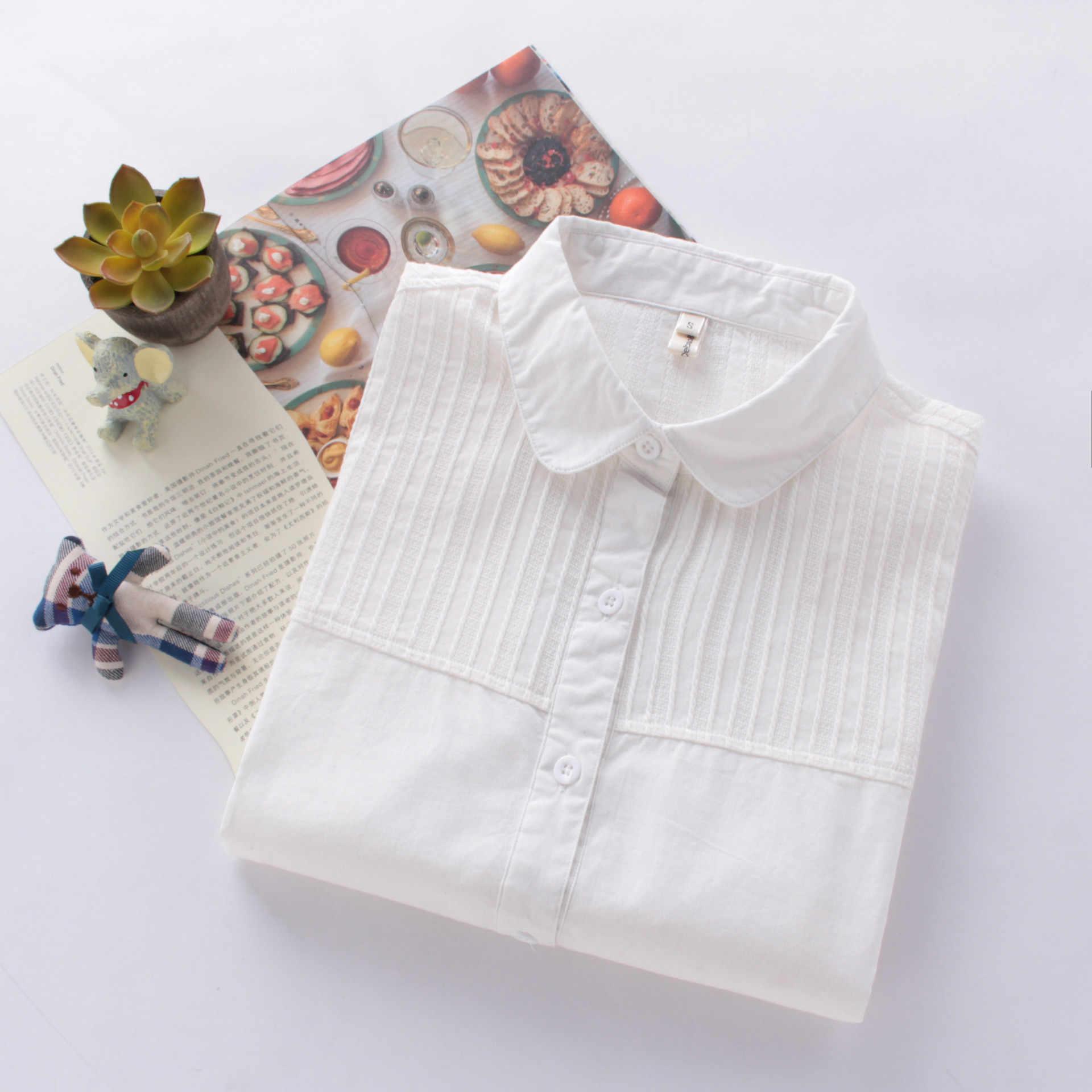 Белые блузки с длинным рукавом Для женщин 2018 новые весенние Повседневное рубашки искусства простой Стиль сращены блузка Для женщин 100% хлопок леди топы Blusas