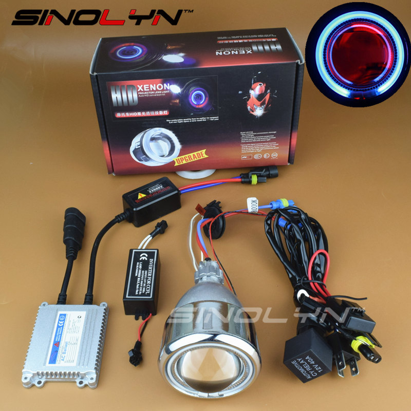 Sinolyn 2.5 ''Moto Phare Ange Diable Démon Yeux Lentille Projecteur HID Kit Halo Bi-xénon Rénovation Projecteur Tuning DIY