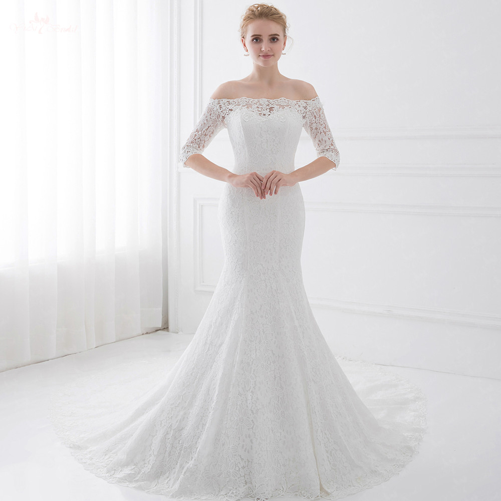 us $163.0 |lz191 half sleeve off white dress off shoulder mermaid wedding  dress vintage lace wedding dress-in wedding dresses from weddings & events