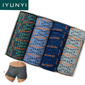 IYUNYI 4Pcs\lot Men Soft Underwear Men Letter Circle Printed 100% Cotton Men Boxer Short Cool Mens Underwear Boxers