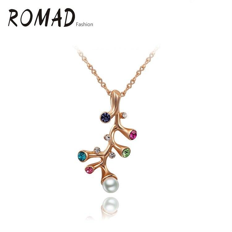 f1d12d436 ROMAD Atacado Multi Cor da Pedra do Tronco de Árvore Colar de Cor de Ouro  da moda de Cristal Austríaco Pingente de Colar de jóias de moda