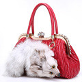 Women Genuine Leather Shoulder Bags Real Fox Furs Bags Luxury Designer Boston Tote Bags Ladies Sheep Skin Handbags With Diamonds