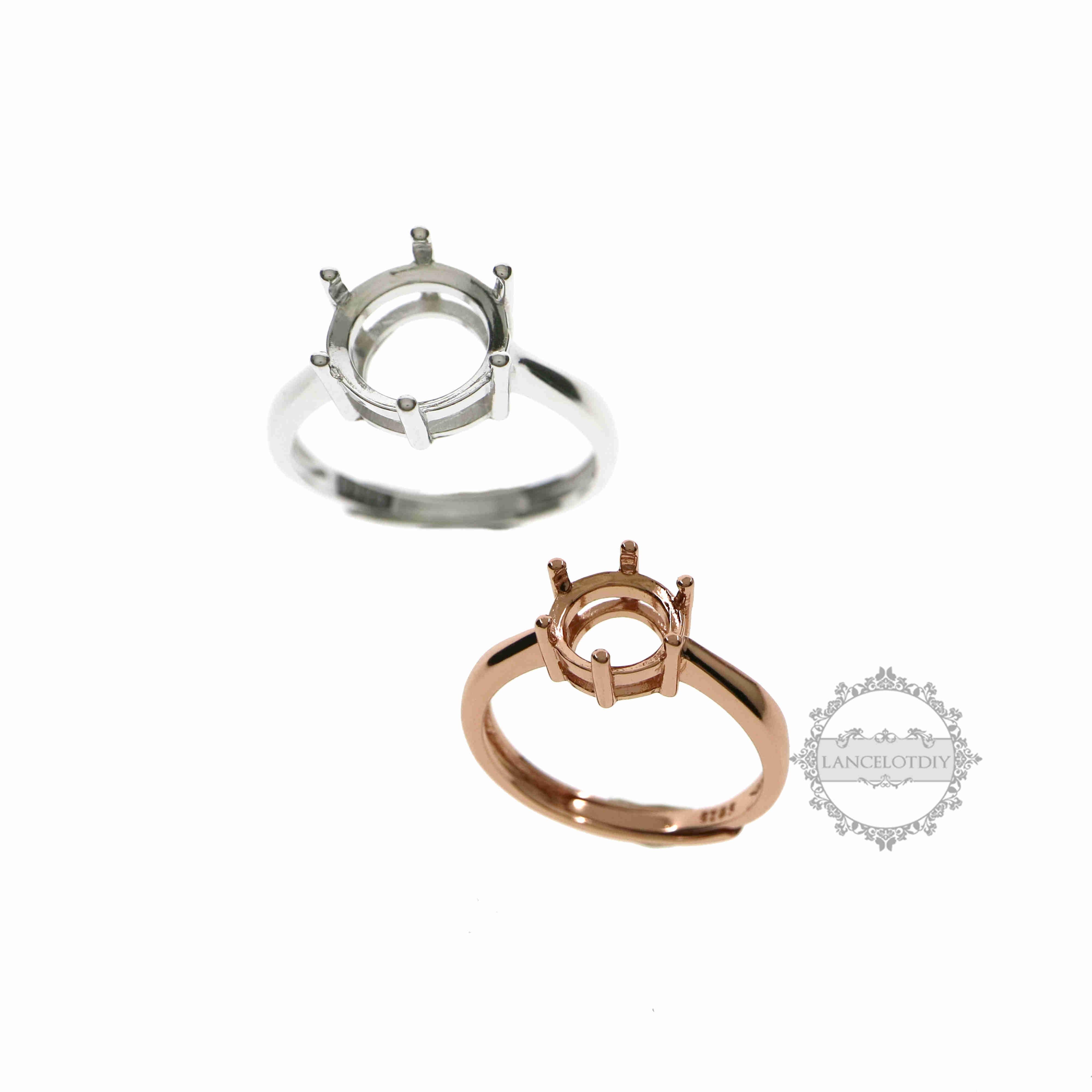 4-12 milímetros rodada CZ pedra prong definindo 925 prata moldura bandeja ajustes do anel ajustável 1212035