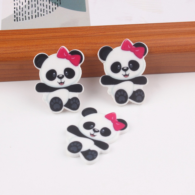 10PCS Panda Charms Bowknot For SLIME Rubber Band Hair Pin Brooch Decoration Resin