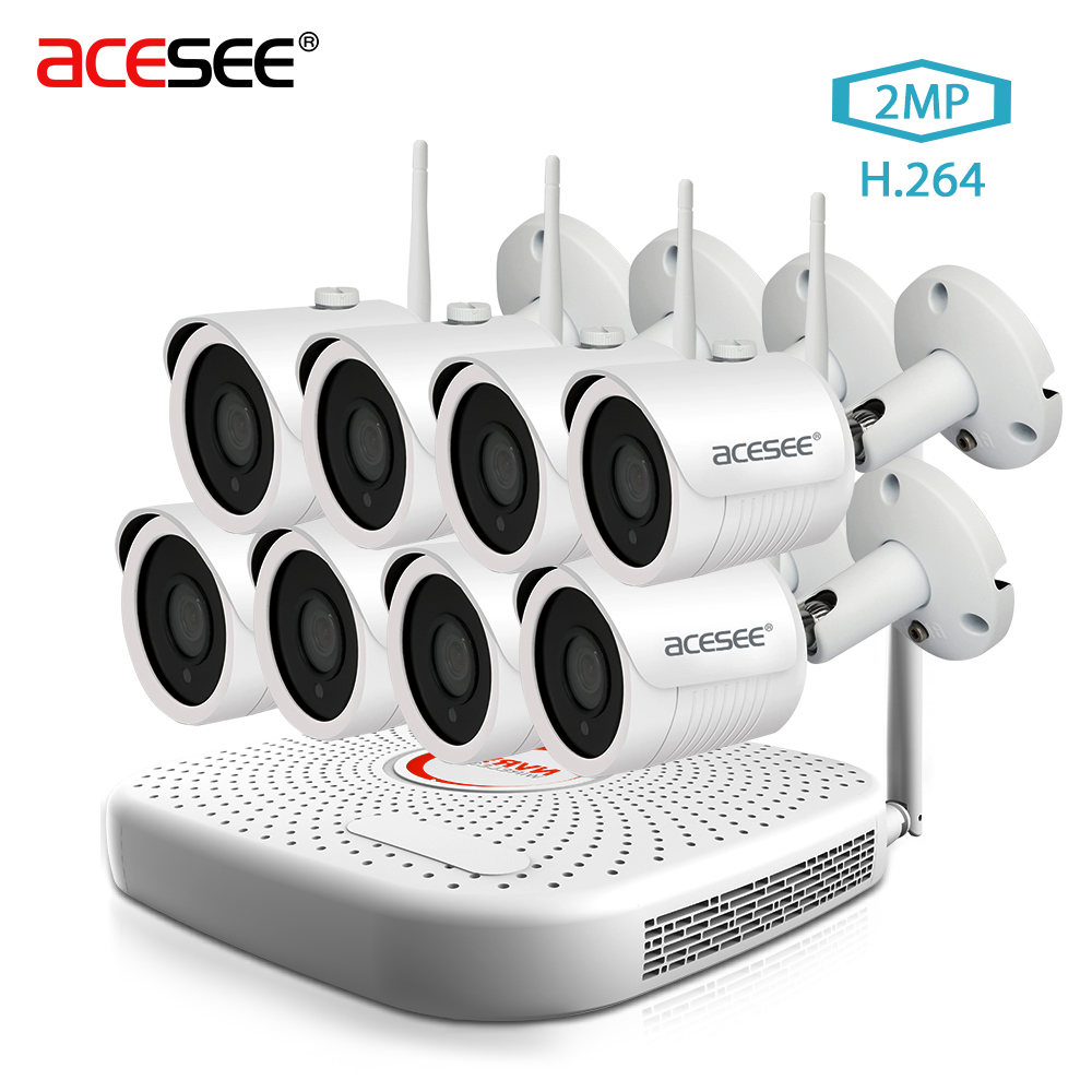 ACESEE 8CH CCTV System Wireless1080P Wifi NVR 8PCS 2MP IR Outdoor Street P2P WI FI IPCam