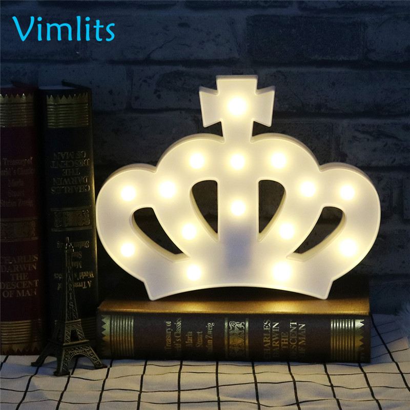 Vimlits LED Night Light Lamp Kids Marquee Letter Lights Crown Shape Signs Light Up Christmas Party Wall Decoration Battery N008