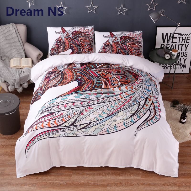 AHSNME Dynamic Horse Bedding Set Classic Bohemian Duvet Cover Indian Tribal Bed Sets Rainbow Bedspread Adult King Queen