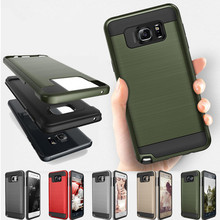 цена на NEW Hybrid V5 brushed Slim Armor Back Cover Case For Samsung Galaxy S5 / S6 S6 edge / S7 S7 edge Silicone + PC Protective Shell