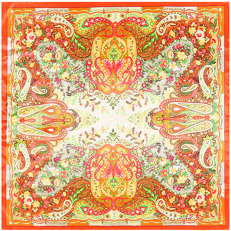 2017 New Twill <font><b>Silk</b></font> Square <font><b>Scarf</b></font> Women Luxury Bohemia Cashew Print <font><b>Scarves</b></font>&Wraps Big Hijab Foulard Bandana Big Neckerchief <font><b>90x90</b></font> image