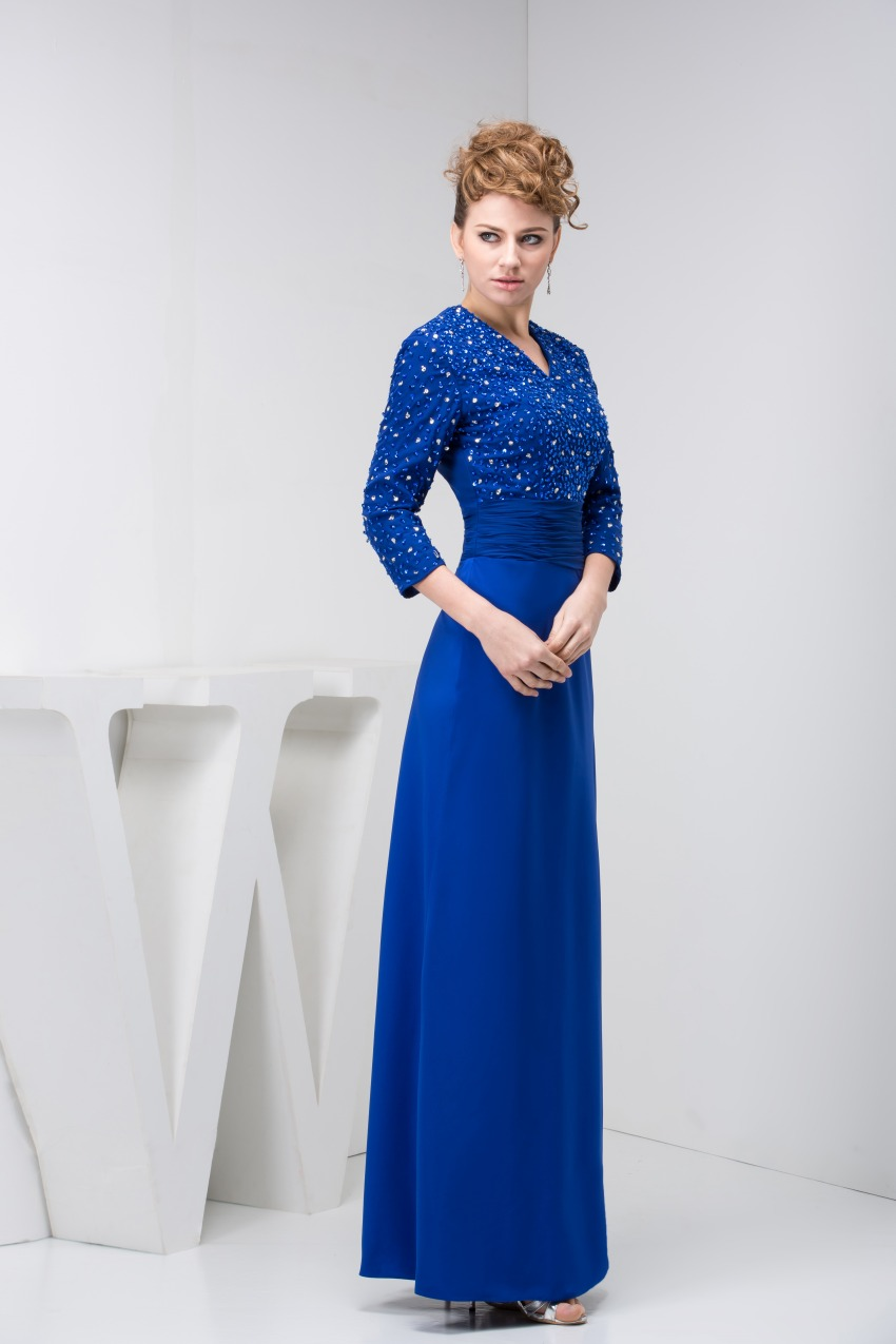 Elegant Blue Mother of the Bride Dresses 2017 New Three Quarters Sleeves Formal Wedding Guest Evening Gowns 6