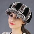 Женщины подлинные rex-кролика hat осень зима супер теплые наушники роскошные волос группа лентой ремня