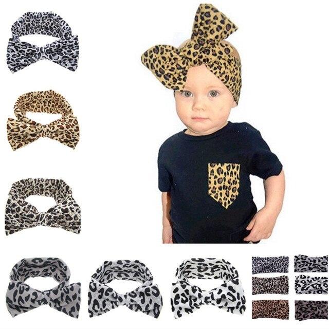09e7a0c335 New 2016 Big Bow Headband Girls leopard print Bow Turban Headwrap Top Knot  Headband kids Hair