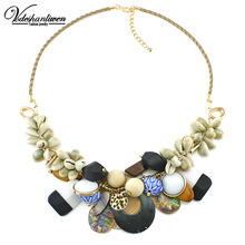 Vodeshanliwen Luxury ZA Shell Collar Necklaces & Pendants Fashion Women Jewelry Unique Acrylic Statement Necklace Accessories
