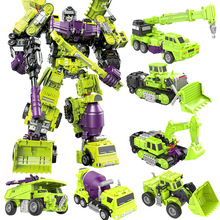 6 In 1 Big Deformation Robot Model Assembled Transformation Action Figure Construction Car Kids Gifts