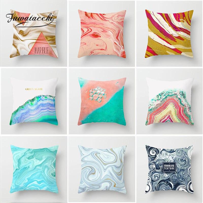 Fuwatacchi rose dégradé housse de coussin océan plage aquarelle peinture taie d'oreiller décoratif jet taie d'oreiller pour maison canapé