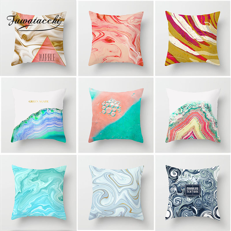 Fuwatacchi Pink Gradient Cushion Cover Ocean Beach Watercolor Painting Pillow Decorative Throw Case for Home Sofa