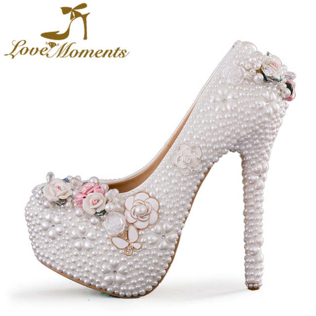 placeholder Elegant Wedding Shoes Women Handmade Hig Heels White Pearl  Flower Princess Shoes Adult Ceremony Pumps with 9c647fdd1774