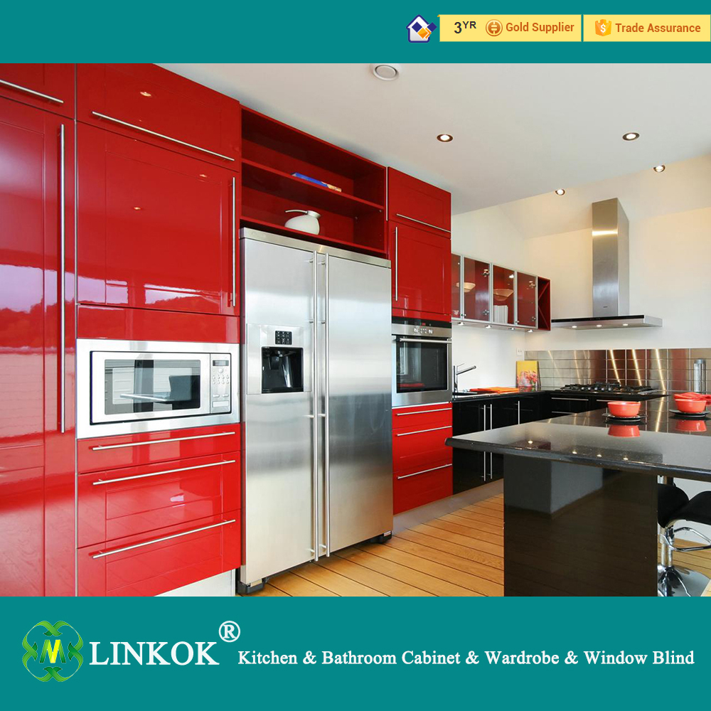Incredible Linkok Furniture Red Color Small Modern Kitchen Cabinet Sets Home Remodeling Inspirations Cosmcuboardxyz