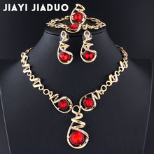 jiayijiaduo 2017 African beads jewelry set nigerian beads necklace set jewellery sets for women Wedding dress accessories red(China)