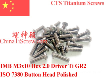 Titanium screw M3X10 ISO 7380 Button Head  Hex 2.0 Driver Ti GR2 Polished 50 pcs 50pcs lot iso7380 m3 x 6 pure titanium button head hex socket screw