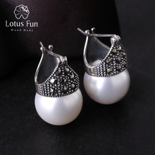 Lotus Fun Real 925 Sterling Silver Natural Handmade Designer Fine Jewelry Vintage Fashion Drop Earrings for Women Brincos Bijoux