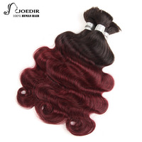 Joedir Pre colored Peruvian Body Wave Human Braiding Hair Bulk 3 Bundles Deal No Weft Remy Hair Bundles Ombre 99J Color