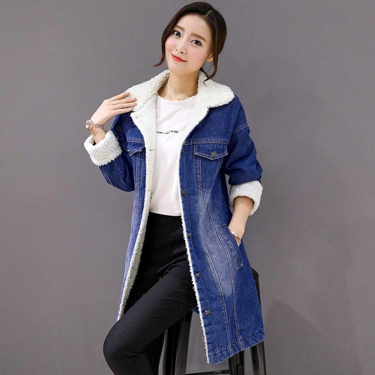 3194762b6b3a Grande Corea Moda Blue Abrigo Para Invierno Talla Grueso Ropa Mujer Manga  Larga Algodón Chaquetas Nueva ...