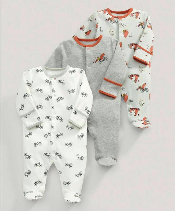 3 Pcs Baby Boys Footed Jumpsuit Cotton Newborn Clothes Long Sleeve Toddler Sleepwear Pajamas Infant Clothing 0-12 Months puseky 2017 infant romper baby boys girls jumpsuit newborn bebe clothing hooded toddler baby clothes cute panda romper costumes