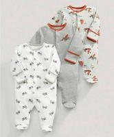 3 Pcs Meninos Footed Macacão de Algodão Recém-nascidos Do Bebê Roupas de Criança de Manga Comprida Sleepwear Pijama Roupa Infantil 0-12 Meses