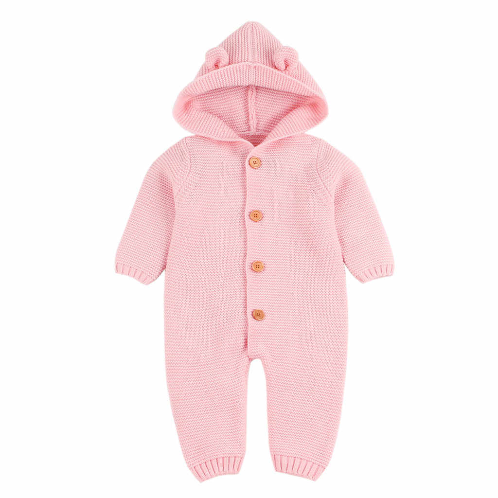 Теплый вязаный свитер для новорожденных мальчиков и девочек, комбинезон с капюшоном, Детская верхняя одежда для малышей, детские комбинезоны, зимняя одежда, новинка 2019 года