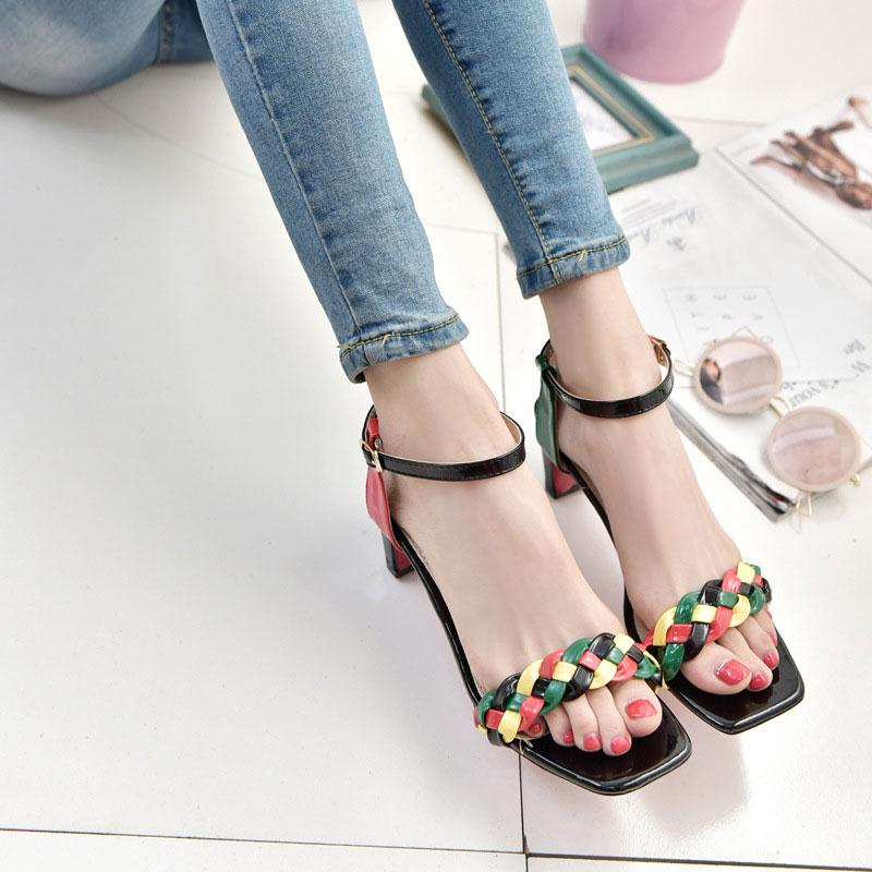 Fashion Women Sandals Shoes PU Leather Fish Mouth Shoes Square heel Buckle Strap Patchwork Fabric Summer Casual Shoes 2 Colors xiaying smile summer woman sandals fashion women pumps square cover heel buckle strap fashion casual concise student women shoes