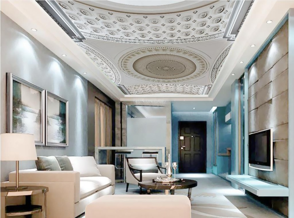 US $13.01 58% OFF|3D Stereoskopischen Europäischen Benutzerdefinierte Decke  Wandmalereien Tapete Geprägt Muster tapeten Wohnkultur Decke Schlafzimmer  ...