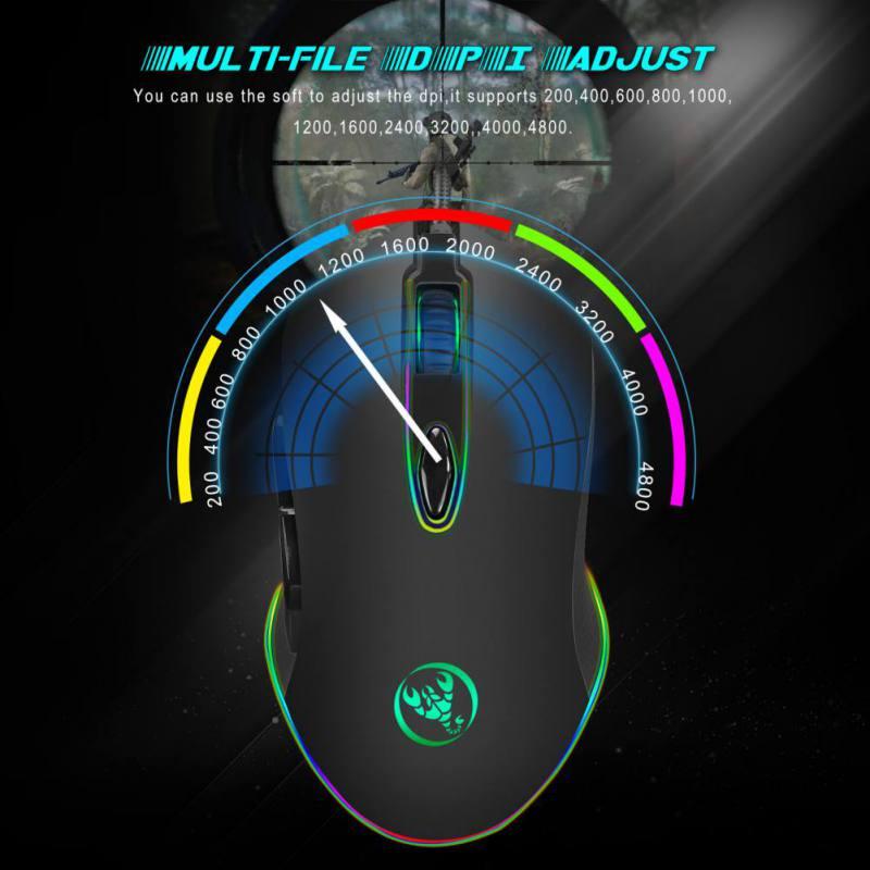 12-niveau 4800 Dpi Verstelbare Wired Gaming Muis 4 Verlichting Modi 20 Miljoen Programmeerbare Klikken Leven Rg Gamer Muizen