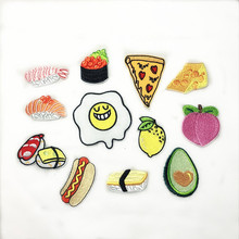 New Poached Egg Sushi Hot Dog Pizza Fruit Avocado Embroidery Honey Peach Patches for Clothing Iron  Kids Clothes Appliques Badge snow honey peach h501b 2234