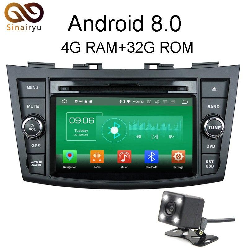 Sinairyu 4G RAM Android 8 0 Car DVD For Suzuki Swift 2013 2014 Octa Core 32G