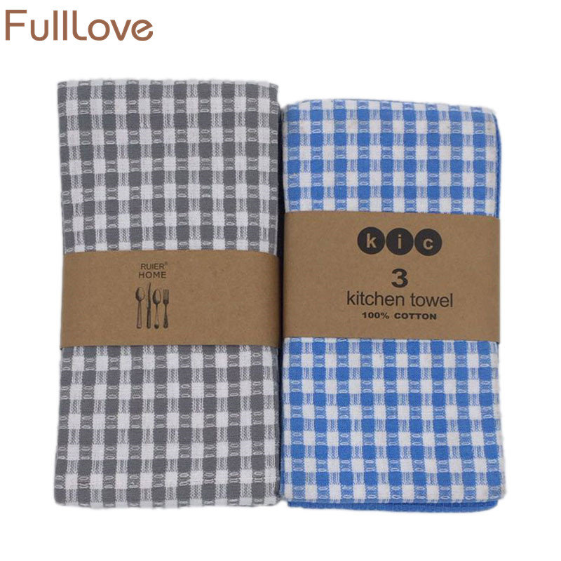 Fulllove 45 65cm 3pcs Set 100 Cotton Kitchen Towels For Cleaning Dish Plaid Mats Striped Towel Cloth Table Napkin Home Textile On Aliexpress Alibaba