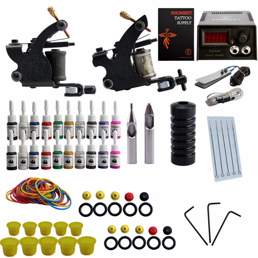 Complete Tattoo Kit Professional Tattoo Kit 2 Guns Machine Set 20 Color Ink Sets Power Supply professional tattoo kit 5 guns complete machine equipment sets teaching cd ink for beginners body art beauty tools tk 2509 m