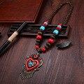 Шарм Старинные Этнические Деревянные Бусы Ожерелья Сердца Смола Кисточкой Ожерелья и Кулоны Чешские Женщины Ювелирные Изделия Колье Ожерелье