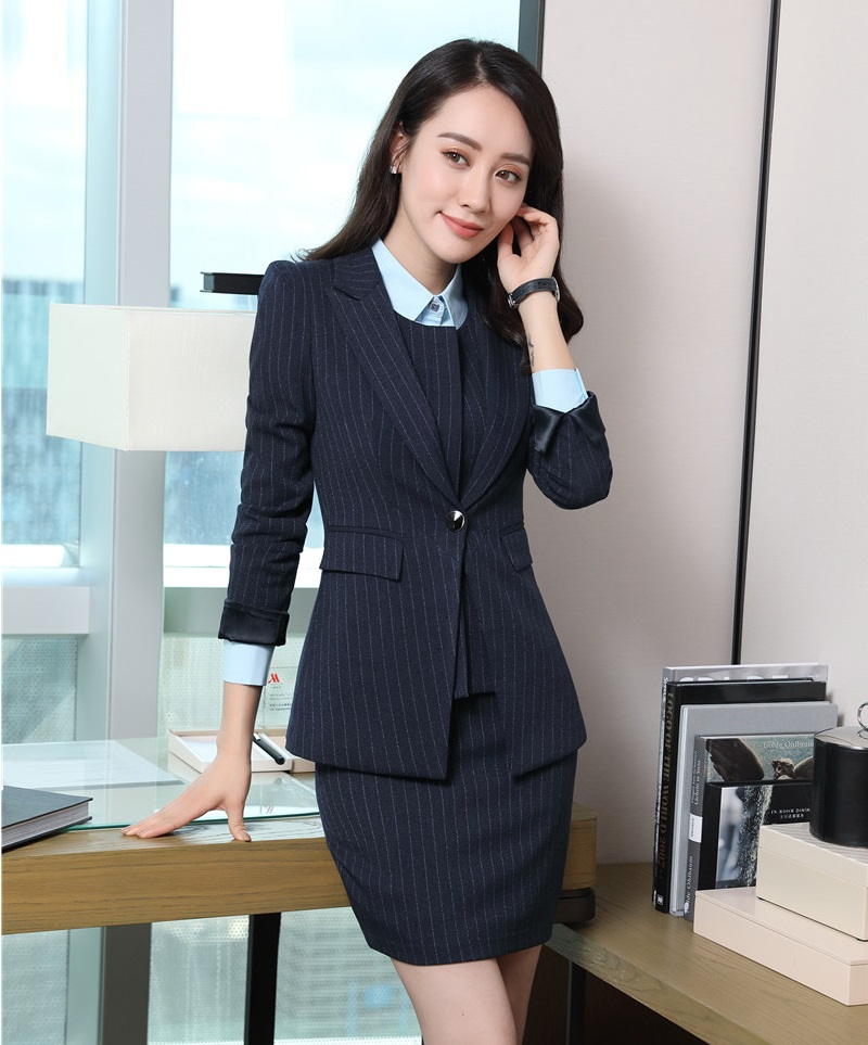 Formal Striped Blazers for Women Business Suits with Skirt ...
